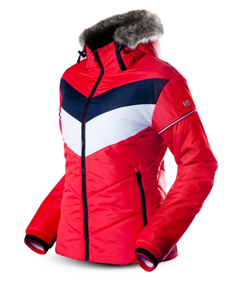 30c8a88057a15 dámska zimná bunda TRIMM Justyna červená s pruhmi - BERG SPORT